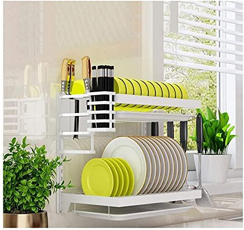 Estante para secar platos de cocina de 2 niveles para montaje en pared, de acero inoxidable, organizador de platos de secado para colgar sobre el fregadero, con 4 ganchos y soporte para herramientas