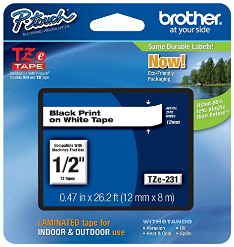 Brother Original P-touch Schriftband TZE231 (kompatibel mit Brother P-touch PT-H100LB/R, -H105, -E100/VP, -D200/BW/VP, -D210/VP)