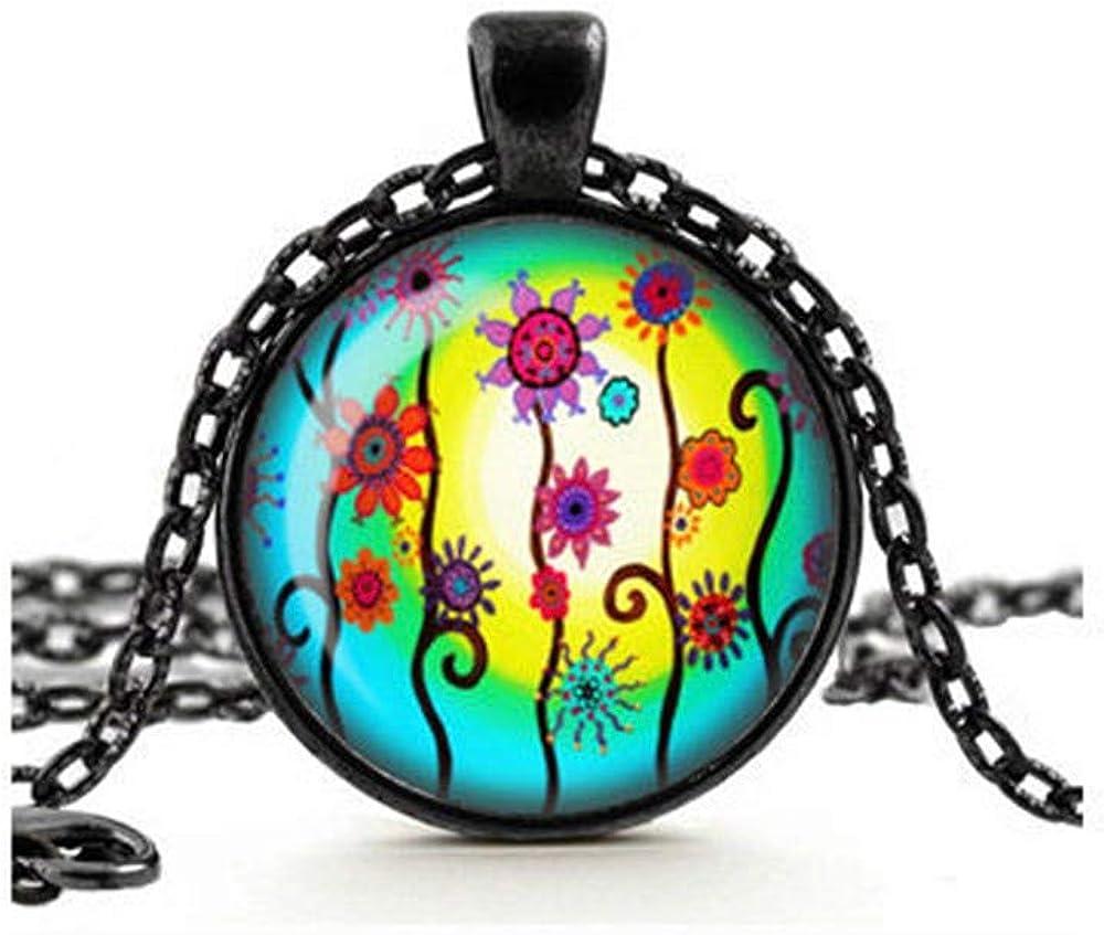 Dandelion Colourful Flowers Necklace, Boho Necklace, Bright Summer Flowers, Sun Necklace, Glass Cameo Cabochon Pendant