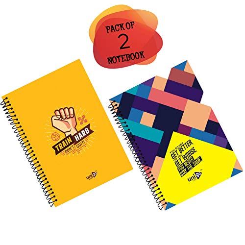Unigo Lite A4 (21 x 29.7) cm Spiral Notebook (Pack of 2 Notebooks),(300 Pages), Both Side Ruled, Durable and Attractive Soft...