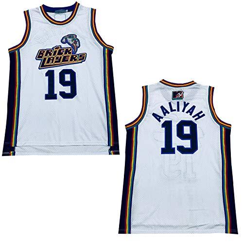 Rainbow Hawk Mens Aaliyah #19 Bricklayers MTV Rock N Jock Basketball Jersey, White, X-Large