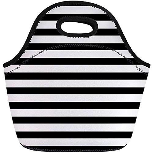 Neopren Lunchtasche,Abstrakte Gestreifte Leere Klassische Dunkle Tragbare Tragetasche Digital,Wiederverwendbare Picknicktaschen,Reise/Büro-Handtasche