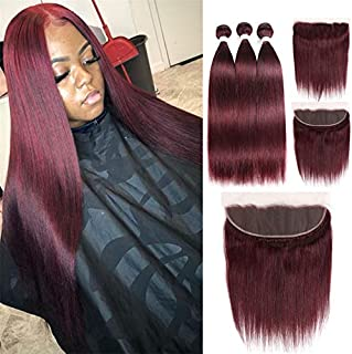 Brazilian Human Virgin Hair Weft 99j Wine Red Burgundy Straight Hair Weaves 3 Bundles With 13X4 Lace Frontal 100% Human Hair Weft Pure Color Silky Straight Hair (12 14 16 with 12f, Burgundy/99J)