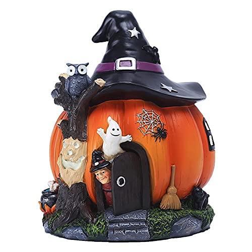 Statut de maison de citrouille d'Halloween avec des chapeaux de sorcière, Statue de maison de fée de citrouille orange...