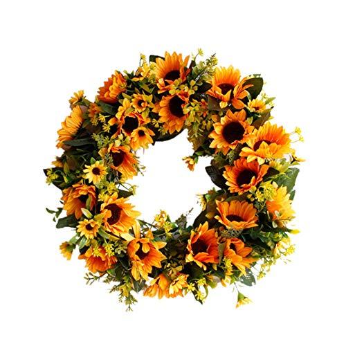 URMAGIC Künstlicher Sonnenblumenkranz Blumenkranz Gelbe Blumentür Kranz Sommerkränze für Haustür mit grünen Blättern Frühlingskranz Dekoration Hochzeit Wand Wohnkultur