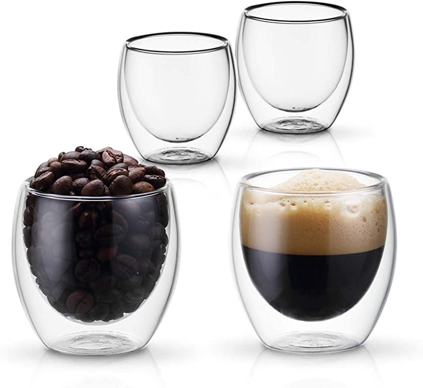 PunPun Set Of 4 Insulated Coffee Shot Glasses Espresso Glass Cups Double Wall Clear Thermo Insulated Borosilicate Glasses Lead Free And FDA Approved Resistance From 20 150 2 7 Oz 80 Ml