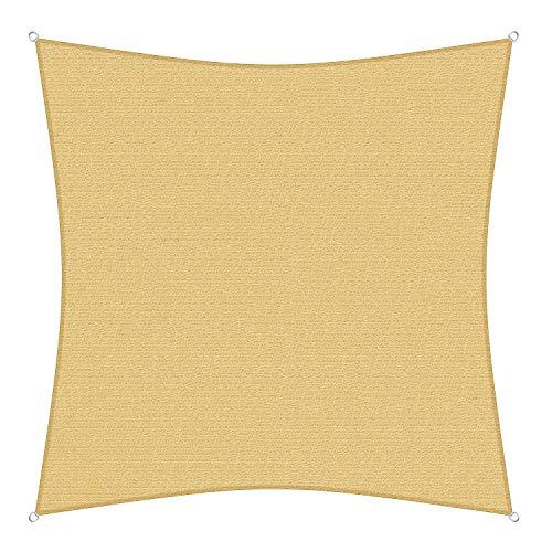 sunprotect 83201 Professional Sonnensegel, 5 x 5 m, Quadrat, Wind- & wasserdurchlässig, beige