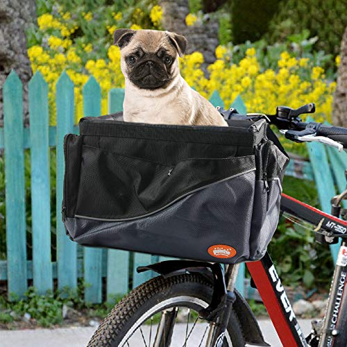 PAWISE Bike Basket Folding Pet Bag for Small Dog Cat Removable Bicycle Handlebar Basket Review