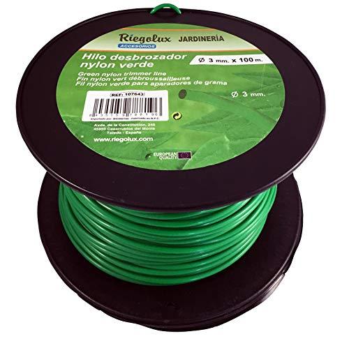 Riegolux 107643 Hilo Desbrozadora Nylon Redonda, Verde, 3 mm x 100 m