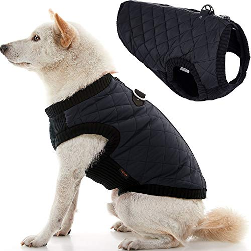 Gooby Fashion Dog Vest - Black, Medium - Small Dog Sweater Bomber Dog Jacket Coat with D Ring Leash and Zipper Closure - Dog Clothes for Small Dogs Girl or Boy for Indoor and Outdoor Use