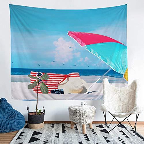 Tapiz hawaiano para colgar en la pared para niños y niñas de verano, vacaciones, decoración de pared, patrón de naturaleza, para dormitorio, sala de estar, extragrande, 152 x 238 cm