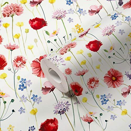 Tapete Blumen bunt Blumenwiese Muster Vliestapete Floral Blumentapete Landhausstil Vintage Rot Blau Grün Rosa für Wohnzimmer Schlafzimmer Küche Flur Made in Germany
