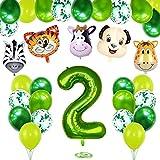 2 Años Selva Fiesta de Cumpleaños Decoracion, 2 Años Cumpleaños Decoración Set con Foil Globo Número 2 Verde y Bosque Animal Globos para Niño Niña 2er Cumpleaños Baby Shower