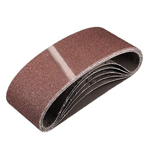 sourcing map 4' x 24' 40 Grit Sanding Belt Aluminum Oxide Sandpaper Belts for Portable Strip Sander Wood Finishing Metal Drywall Polishing Sharpening Abrasive Paper 6pcs