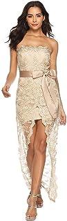 レースの長いセクションドレス婦人服チューブトップストラップレスの肩のフロント分割セクシーな刺繍 (色 : B, サイズ さいず : XL)