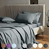 SAKIAO Queen Size Bed Sheets Set - Brushed Microfiber 1800 Thread Count Percale - 16' Deep Pocket Egyptian Sheets Beautiful Breathable Wrinkle Free & Fade Resistant - 4 Piece (Dark Grey,Queen)