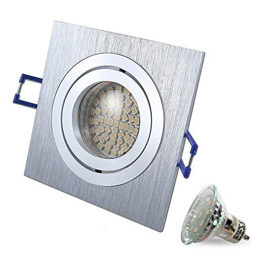Faretto a LED orientabile STAR quadrato opaco cromato/ argento include lampadina a LED di 4 W, di colore bianco freddo, 230 V, IP20, faretto da incasso a soffitto, lampada da incasso, faretto moderno Set da 2