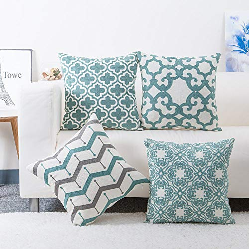 Embroidered Throw Pillows Covers 4PCS/Set, baibu Decorative Teal Throw Pillow Case Turquoise Cushion Cover for Couch Sofa 18x18 inch