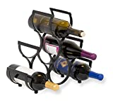 BIRDROCK HOME Wine Rack - Pyramid Wine Stand Holder - 6 Bottles - Black Metal