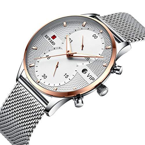 CXJC Moda Reloj de negocios multifuncional para hombre de moda, reloj deportivo de 5 clavijas de cronógrafo, caja de acero inoxidable (correa) + espejo de vidrio reforzado mineral (Color : Plata)