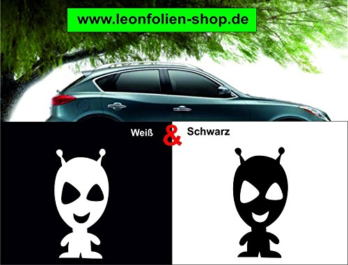 leon folien Lächelndes Alien Auto Aufkleber – Auto Tattoo – Wand Tattoo 15 x 7,5 cm (Weiß)