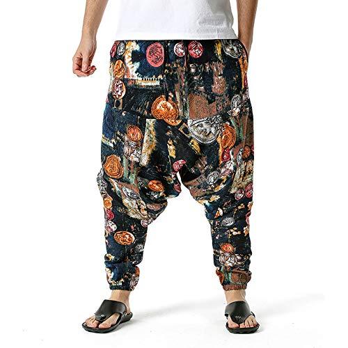 KIMODO Haremshose Pumphose Pluderhose Freizeithose Yoga Baggy aus Baumwolle und Leinen Bohemienhose Loose Casual Leichte Home Pants Sporthose (N-Mehrfarbig, 3XL)