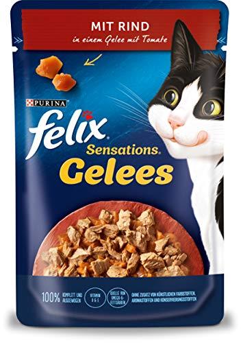 FELIX Sensations Gelees Katzenfutter nass, mit Rind & Tomate in Gelee, 26er Pack (26 x 85g)