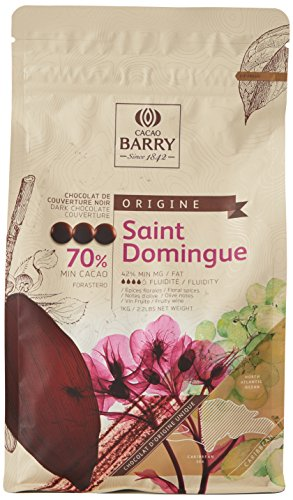 CACAO BARRY CHD-Q70SDO-2B-U73 - 70% Min Cacao Chocolat Saint Domingue Pistoles 1 kg