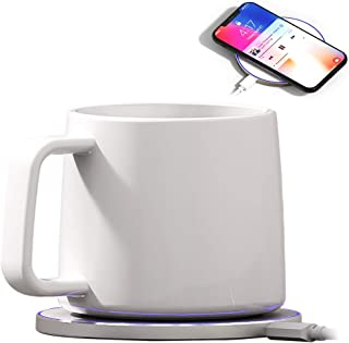 Bone China Mug Warmer, Coffee Mug Warmer with Wireless Charger (2 in 1), Wireless Charging, Constant Temperature for Keeping Warm (about 122°F/50°C)(capacity:200ml)