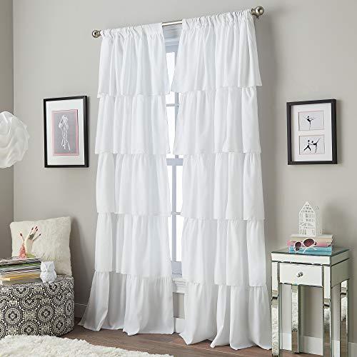 Curtainworks Flounced Curtain Panel, 84-inch, White,1Q82460GWT