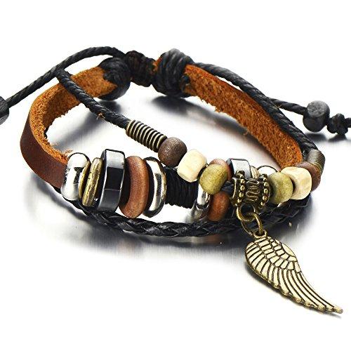 COOLSTEELANDBEYOND Angel Wing Multi-Strand Brown Leather Bracelet for Men Women Tribal Leather Wristband Wrap Bracelet