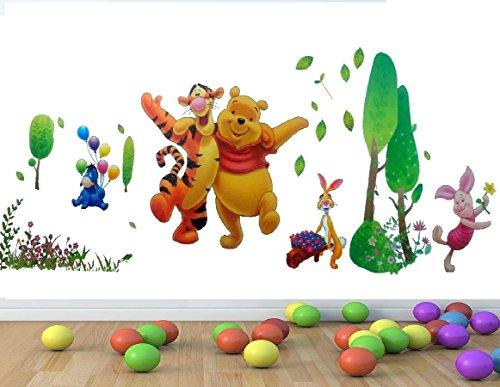 ZuoLan 1pcs Winnie l'ourson sticker mural amovible réutilisable pour Enfants/Garçons/Filles/Décoration Maison Chambre (# C)