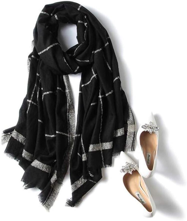 Ranking TOP19 LUYIYI Wool Scarf Ladies Black Plaid Warm Version Korean Indefinitely Shawl o