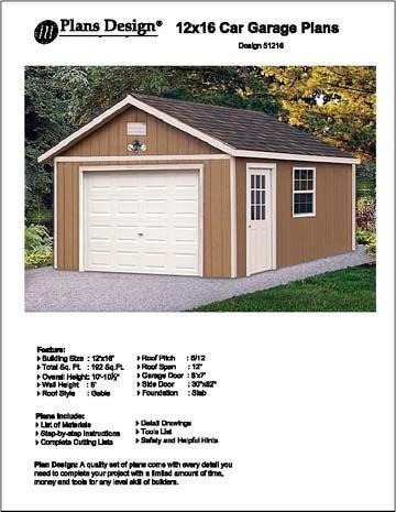 12' X 16' Car Garage Project Plans - Design #51216