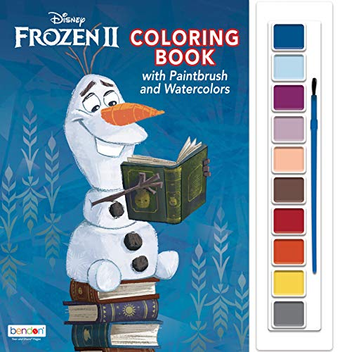 Disney Frozen 2 Oversized Coloring Book with Paint Palette and Paintbrush 45815,Multicolor