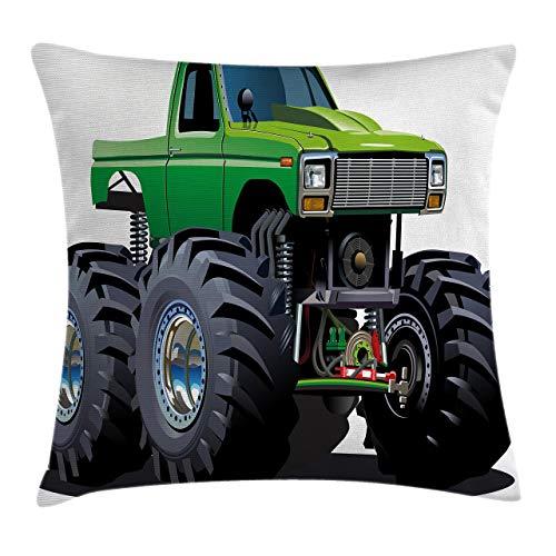Funda de cojín para coche, diseño de monstruos gigantes, con neumáticos grandes y suspensión de la rueda más grande de 45,7 x 45,7 cm, verde y gris
