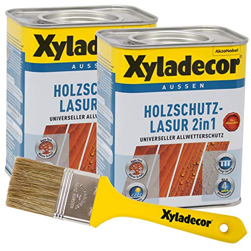 Xyladecor 2in1 Holzschutzlasur walnuss 1,5 l inkl. Xyladecor Pinsel