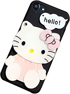 BONTOUJOUR Super Lovely iPhone 7 Plus/iPhone 8 Plus Case, Creative Multifunction Cartoon Soft TPU Phone Case with Hello Kitty Cat Flower Mirror on Back + Lanyard - Hello Kitty Black-2