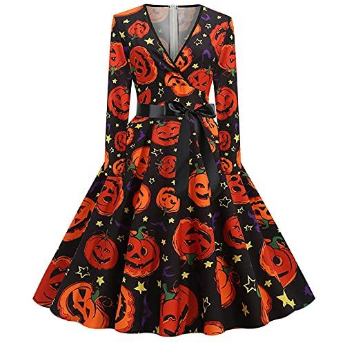 Abiti per Halloween da donna, costume da donna anni '50 e '60, vestito da Rockabilly, a maniche lunghe, stile vintage, Arancione, M