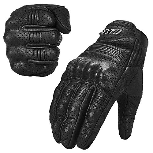 ILM Goatskin Leather Motorcycle Motorbike Powersports Racing Gloves Touchscreen for Men and Women Black (L, Black Perforated)