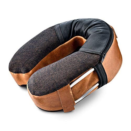 MyJet Luxury Travel Pillow | Stylish Comfort - Complete Relaxation | Physician Designed Support for Perfect Back Alignment and Pain Relief | Premium Leather and Memory Foam with Heating/Cooling Pads