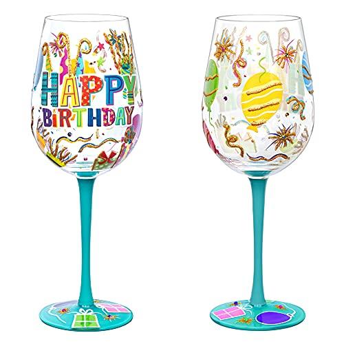 NymphFable Copa de Vino Pintada a Mano Feliz Cumpleaños Uno Copa de Vino Tinto 15oz Regalo para Familia o Amigo