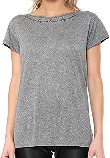 Camiseta Fitness Estampada Feminina Mescla Grafite Colcci