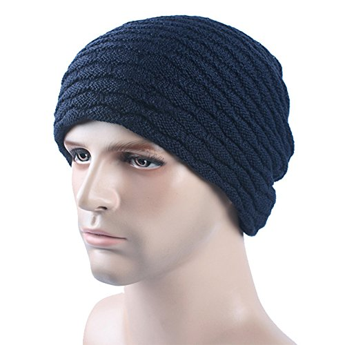 GITVIENAR Bonnet d'hiver chaud en laine tricotée pour homme et femme, Femme Homme, bleu marine, taille unique
