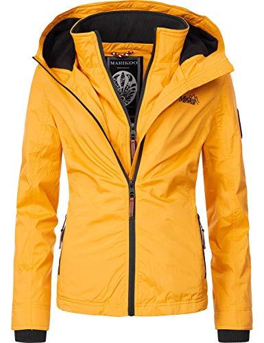 Marikoo Damen Übergangsjacke Outdoorjacke mit Kapuze Erdbeere Gelb Gr. L