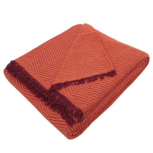 MERCURY TEXTIL- Colcha Multiusos Sofa,Manta Foulard,Plaid para Cama,Cubresofa Cubrecama,jarapas,Comoda Practica y Suave. Poliester Algodón (230 x 260cm, Espiga Naranja Granate)