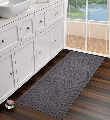 UMI by Amazon - Tappeto passatoia in 100% cotone, motivo jacquard, lavabile, per soggiorno, cucina, camera da letto, 60 x 152 cm, colore: grigio