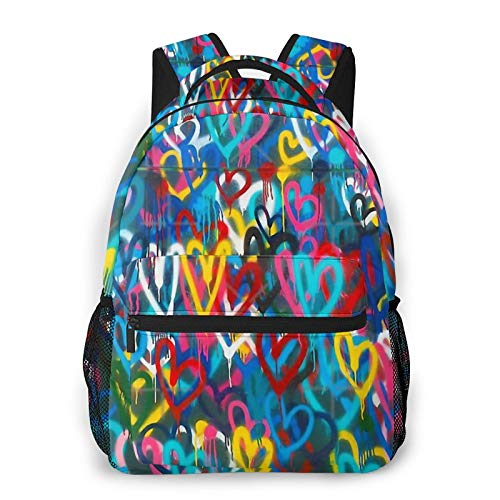 Graffiti Urban Colorful Graffiti City Wall Chaotic Hearts Pattern Painting Grunge Rainbow Backpack Men'S And Women'S Daypack Casual Bookbag Girls And Boys Best Schoolbag