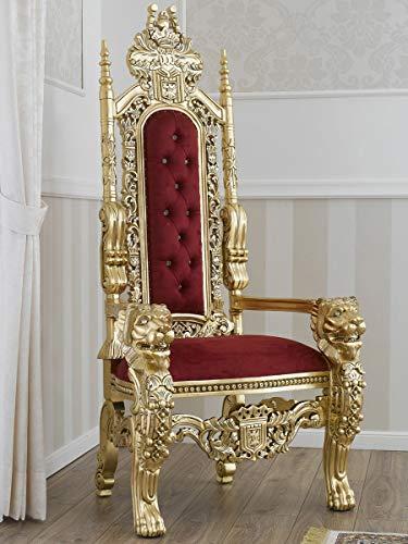 SIMONE GUARRACINO LUXURY DESIGN Trono Lion Estilo Barroco Francese sillón Color Hoja Oro Terciopelo Bordeaux con Piedras y Botones Crystal Sw