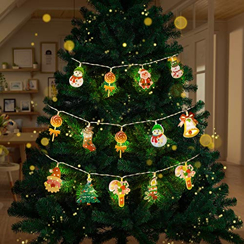 FUMISO Christmas Lights Outdoor Indoor String Lights 20 LED Santa Claus String Lights,Christmas Fairy Light, Christmas Tree Lights, 5 Patterns, Battery Operated Decorative Lights for Christmas Tree